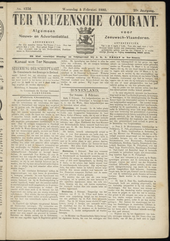 Ter Neuzensche Courant. Algemeen Nieuws- en Advertentieblad voor Zeeuwsch-Vlaanderen / Neuzensche Courant ... (idem) / (Algemeen) nieuws en advertentieblad voor Zeeuwsch-Vlaanderen 1880-02-04