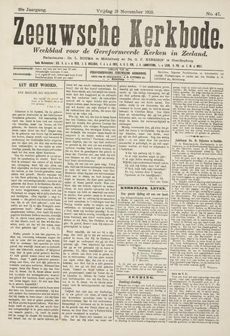 Zeeuwsche kerkbode, weekblad gewijd aan de belangen der gereformeerde kerken/ Zeeuwsch kerkblad 1915-11-19