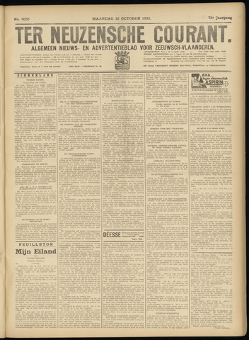 Ter Neuzensche Courant. Algemeen Nieuws- en Advertentieblad voor Zeeuwsch-Vlaanderen / Neuzensche Courant ... (idem) / (Algemeen) nieuws en advertentieblad voor Zeeuwsch-Vlaanderen 1933-10-16