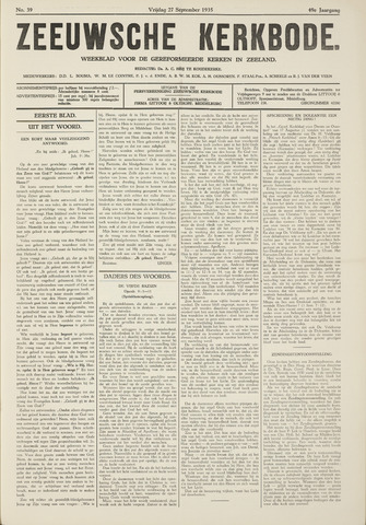 Zeeuwsche kerkbode, weekblad gewijd aan de belangen der gereformeerde kerken/ Zeeuwsch kerkblad 1935-09-27