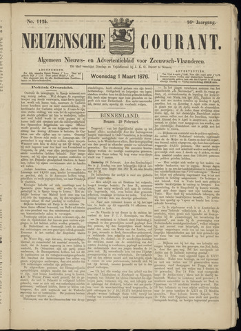 Ter Neuzensche Courant. Algemeen Nieuws- en Advertentieblad voor Zeeuwsch-Vlaanderen / Neuzensche Courant ... (idem) / (Algemeen) nieuws en advertentieblad voor Zeeuwsch-Vlaanderen 1876-03-01