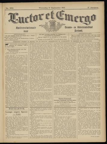 Luctor et Emergo. Antirevolutionair nieuws- en advertentieblad voor Zeeland / Zeeuwsch-Vlaanderen. Orgaan ter verspreiding van de christelijke beginselen in Zeeuwsch-Vlaanderen 1913-09-17
