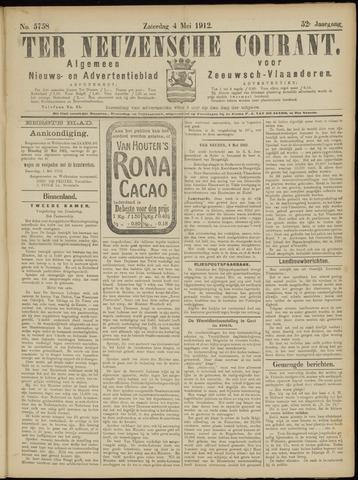 Ter Neuzensche Courant. Algemeen Nieuws- en Advertentieblad voor Zeeuwsch-Vlaanderen / Neuzensche Courant ... (idem) / (Algemeen) nieuws en advertentieblad voor Zeeuwsch-Vlaanderen 1912-05-04