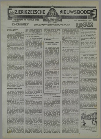 Zierikzeesche Nieuwsbode 1942-02-19