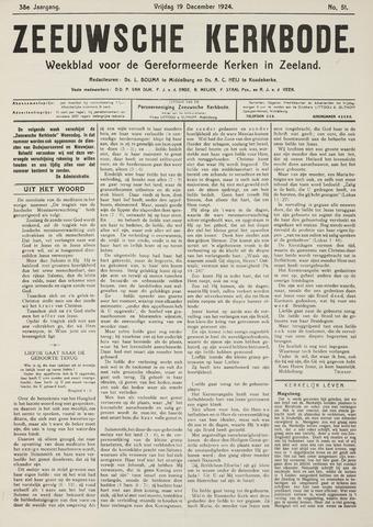 Zeeuwsche kerkbode, weekblad gewijd aan de belangen der gereformeerde kerken/ Zeeuwsch kerkblad 1924-12-19