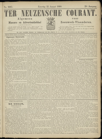Ter Neuzensche Courant. Algemeen Nieuws- en Advertentieblad voor Zeeuwsch-Vlaanderen / Neuzensche Courant ... (idem) / (Algemeen) nieuws en advertentieblad voor Zeeuwsch-Vlaanderen 1888-01-21