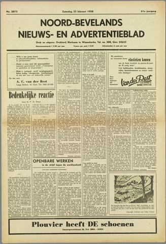 Noord-Bevelands Nieuws- en advertentieblad 1958-02-22