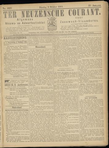 Ter Neuzensche Courant. Algemeen Nieuws- en Advertentieblad voor Zeeuwsch-Vlaanderen / Neuzensche Courant ... (idem) / (Algemeen) nieuws en advertentieblad voor Zeeuwsch-Vlaanderen 1911-10-03