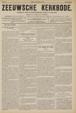 Zeeuwsche kerkbode, weekblad gewijd aan de belangen der gereformeerde kerken/ Zeeuwsch kerkblad 1940-08-30