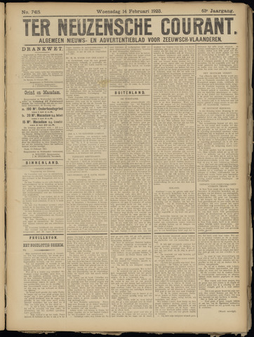 Ter Neuzensche Courant. Algemeen Nieuws- en Advertentieblad voor Zeeuwsch-Vlaanderen / Neuzensche Courant ... (idem) / (Algemeen) nieuws en advertentieblad voor Zeeuwsch-Vlaanderen 1923-02-14