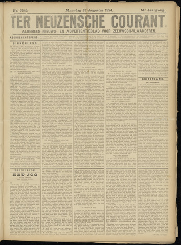 Ter Neuzensche Courant. Algemeen Nieuws- en Advertentieblad voor Zeeuwsch-Vlaanderen / Neuzensche Courant ... (idem) / (Algemeen) nieuws en advertentieblad voor Zeeuwsch-Vlaanderen 1924-08-25