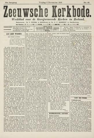 Zeeuwsche kerkbode, weekblad gewijd aan de belangen der gereformeerde kerken/ Zeeuwsch kerkblad 1916-11-03