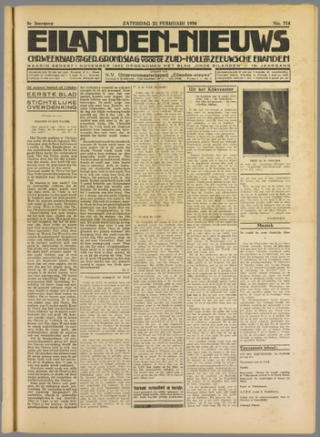 Eilanden-nieuws. Christelijk streekblad op gereformeerde grondslag 1936-02-22
