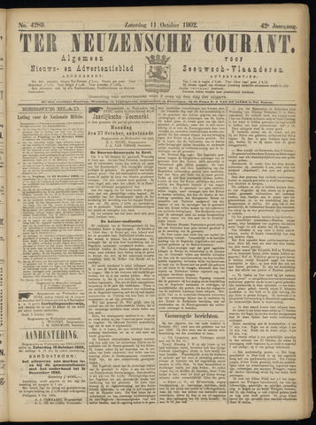 Ter Neuzensche Courant. Algemeen Nieuws- en Advertentieblad voor Zeeuwsch-Vlaanderen / Neuzensche Courant ... (idem) / (Algemeen) nieuws en advertentieblad voor Zeeuwsch-Vlaanderen 1902-10-11
