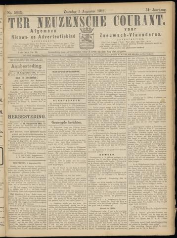 Ter Neuzensche Courant. Algemeen Nieuws- en Advertentieblad voor Zeeuwsch-Vlaanderen / Neuzensche Courant ... (idem) / (Algemeen) nieuws en advertentieblad voor Zeeuwsch-Vlaanderen 1911-08-05