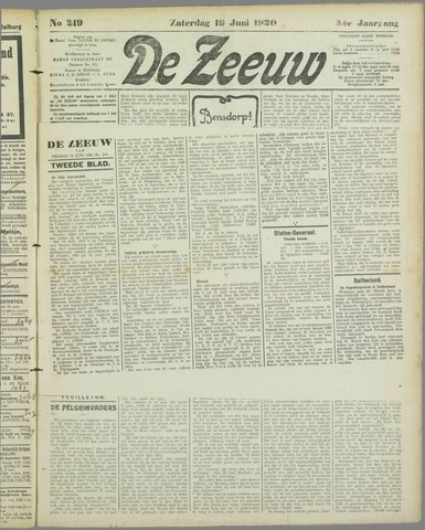 De Zeeuw. Christelijk-historisch nieuwsblad voor Zeeland 1920-06-19