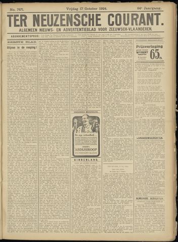Ter Neuzensche Courant. Algemeen Nieuws- en Advertentieblad voor Zeeuwsch-Vlaanderen / Neuzensche Courant ... (idem) / (Algemeen) nieuws en advertentieblad voor Zeeuwsch-Vlaanderen 1924-10-17