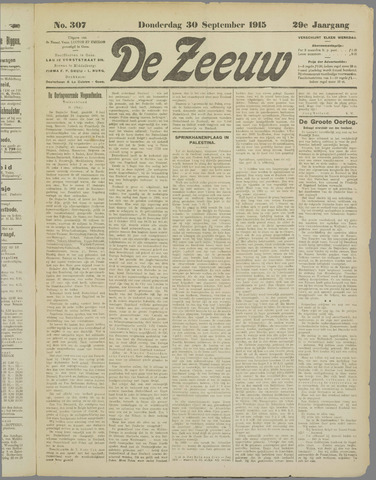 De Zeeuw. Christelijk-historisch nieuwsblad voor Zeeland 1915-09-30