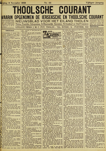 Ierseksche en Thoolsche Courant 1933-11-03