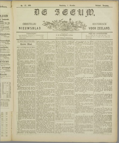 De Zeeuw. Christelijk-historisch nieuwsblad voor Zeeland 1898-12-01