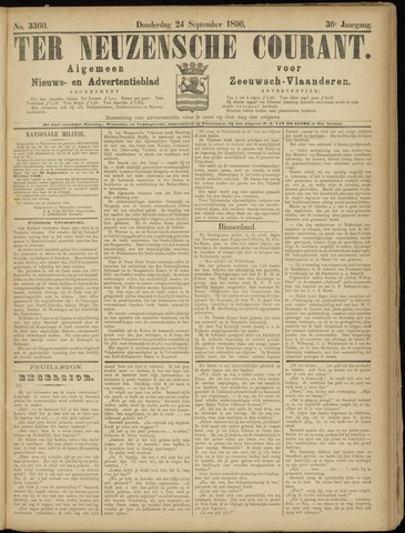 Ter Neuzensche Courant. Algemeen Nieuws- en Advertentieblad voor Zeeuwsch-Vlaanderen / Neuzensche Courant ... (idem) / (Algemeen) nieuws en advertentieblad voor Zeeuwsch-Vlaanderen 1896-09-24