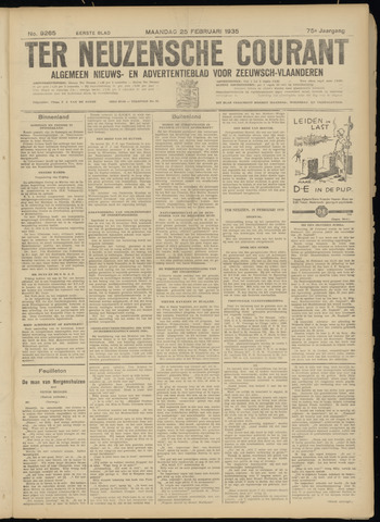 Ter Neuzensche Courant. Algemeen Nieuws- en Advertentieblad voor Zeeuwsch-Vlaanderen / Neuzensche Courant ... (idem) / (Algemeen) nieuws en advertentieblad voor Zeeuwsch-Vlaanderen 1935-02-25