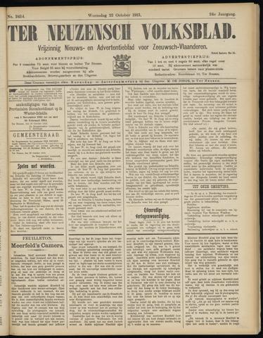 Ter Neuzensch Volksblad. Vrijzinnig nieuws- en advertentieblad voor Zeeuwsch- Vlaanderen / Zeeuwsch Nieuwsblad. Nieuws- en advertentieblad voor Zeeland 1913-10-22
