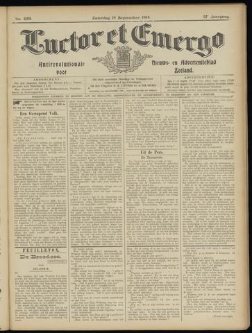 Luctor et Emergo. Antirevolutionair nieuws- en advertentieblad voor Zeeland / Zeeuwsch-Vlaanderen. Orgaan ter verspreiding van de christelijke beginselen in Zeeuwsch-Vlaanderen 1914-09-19