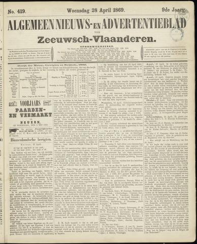 Ter Neuzensche Courant. Algemeen Nieuws- en Advertentieblad voor Zeeuwsch-Vlaanderen / Neuzensche Courant ... (idem) / (Algemeen) nieuws en advertentieblad voor Zeeuwsch-Vlaanderen 1869-04-28
