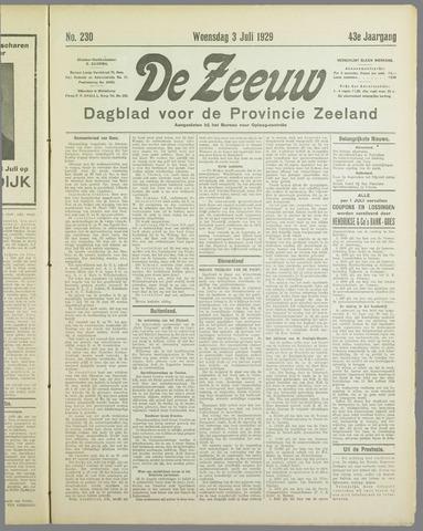 De Zeeuw. Christelijk-historisch nieuwsblad voor Zeeland 1929-07-03