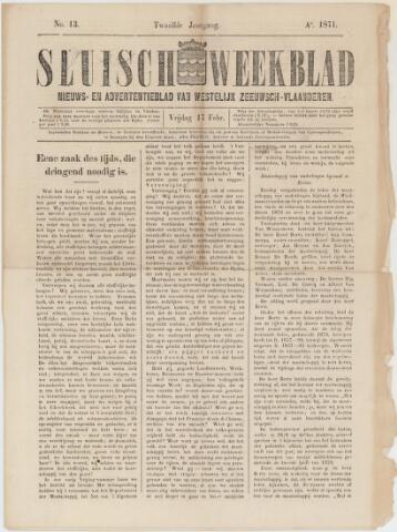 Sluisch Weekblad. Nieuws- en advertentieblad voor Westelijk Zeeuwsch-Vlaanderen 1871-02-17