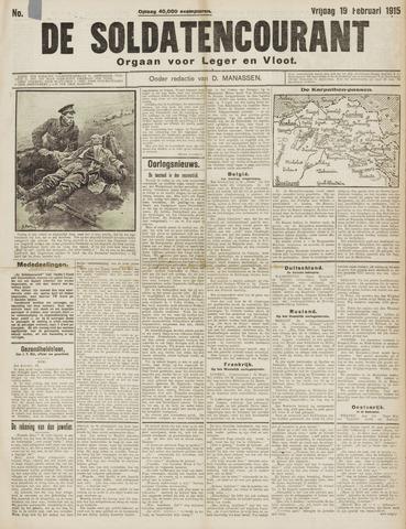 De Soldatencourant. Orgaan voor Leger en Vloot 1915-02-19