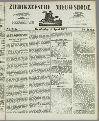 Zierikzeesche Nieuwsbode 1852-04-08
