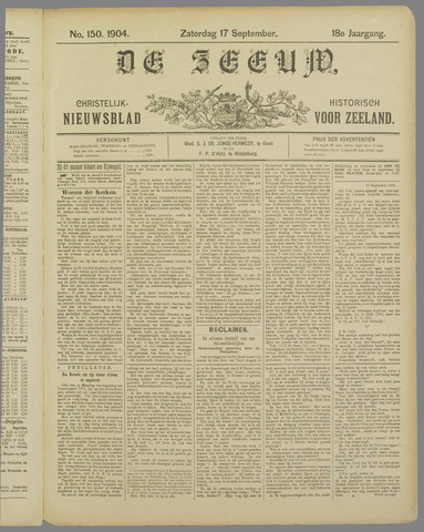 De Zeeuw. Christelijk-historisch nieuwsblad voor Zeeland 1904-09-17