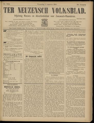 Ter Neuzensch Volksblad. Vrijzinnig nieuws- en advertentieblad voor Zeeuwsch- Vlaanderen / Zeeuwsch Nieuwsblad. Nieuws- en advertentieblad voor Zeeland 1914-08-05