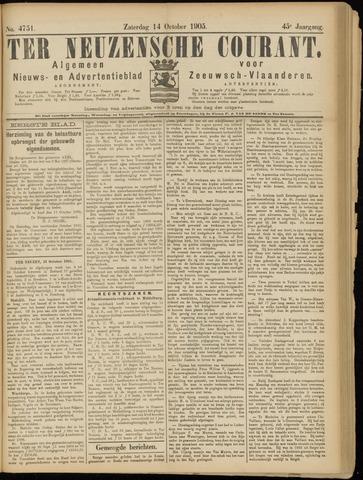Ter Neuzensche Courant. Algemeen Nieuws- en Advertentieblad voor Zeeuwsch-Vlaanderen / Neuzensche Courant ... (idem) / (Algemeen) nieuws en advertentieblad voor Zeeuwsch-Vlaanderen 1905-10-14