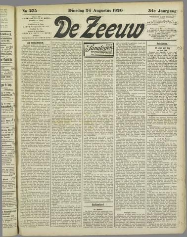 De Zeeuw. Christelijk-historisch nieuwsblad voor Zeeland 1920-08-24