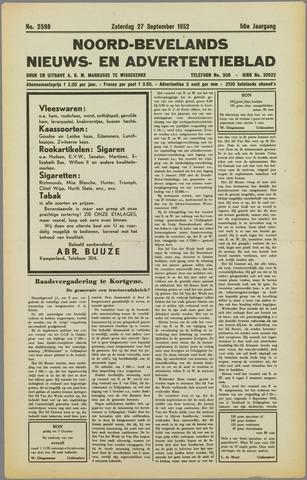 Noord-Bevelands Nieuws- en advertentieblad 1952-09-27