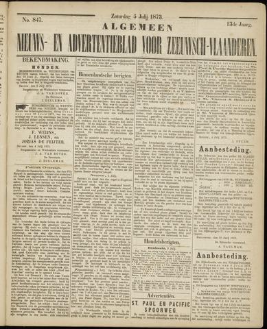Ter Neuzensche Courant. Algemeen Nieuws- en Advertentieblad voor Zeeuwsch-Vlaanderen / Neuzensche Courant ... (idem) / (Algemeen) nieuws en advertentieblad voor Zeeuwsch-Vlaanderen 1873-07-05