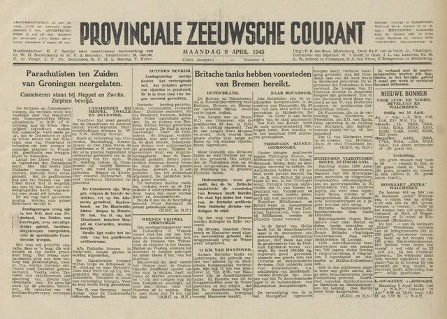 Provinciale Zeeuwse Courant 1945-04-09
