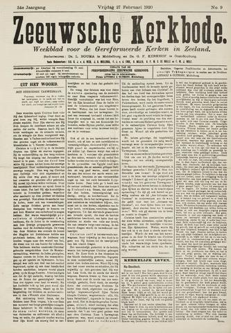 Zeeuwsche kerkbode, weekblad gewijd aan de belangen der gereformeerde kerken/ Zeeuwsch kerkblad 1920-02-27