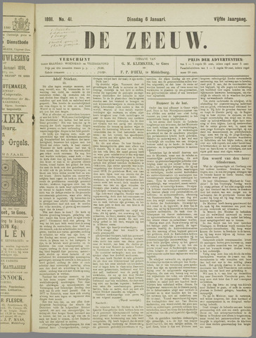 De Zeeuw. Christelijk-historisch nieuwsblad voor Zeeland 1891-01-06