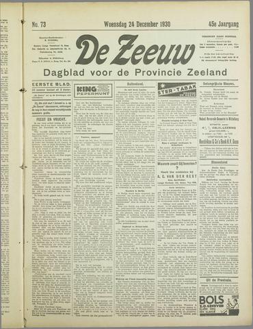 De Zeeuw. Christelijk-historisch nieuwsblad voor Zeeland 1930-12-24