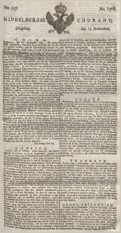 Middelburgsche Courant 1768-11-15