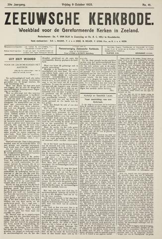 Zeeuwsche kerkbode, weekblad gewijd aan de belangen der gereformeerde kerken/ Zeeuwsch kerkblad 1925-10-09