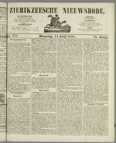 Zierikzeesche Nieuwsbode 1851-07-14