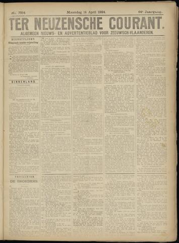 Ter Neuzensche Courant. Algemeen Nieuws- en Advertentieblad voor Zeeuwsch-Vlaanderen / Neuzensche Courant ... (idem) / (Algemeen) nieuws en advertentieblad voor Zeeuwsch-Vlaanderen 1924-04-14