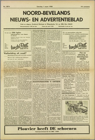 Noord-Bevelands Nieuws- en advertentieblad 1958-03-01