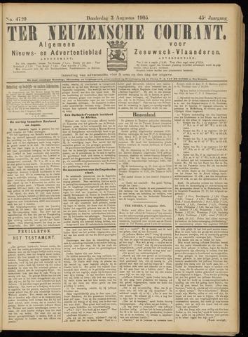 Ter Neuzensche Courant. Algemeen Nieuws- en Advertentieblad voor Zeeuwsch-Vlaanderen / Neuzensche Courant ... (idem) / (Algemeen) nieuws en advertentieblad voor Zeeuwsch-Vlaanderen 1905-08-03
