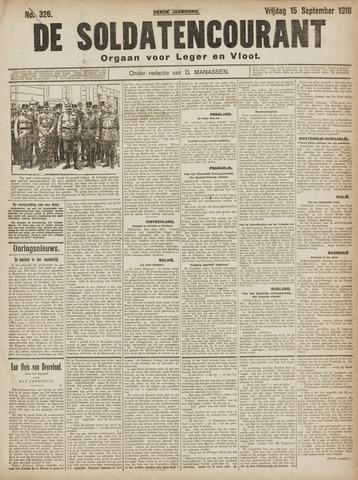 De Soldatencourant. Orgaan voor Leger en Vloot 1916-09-15